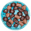 Plate of chocolates — Stock Photo