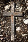 Cruz de madeira velha — Fotografia Stock