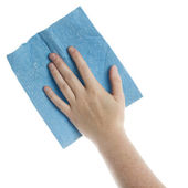 Hand with cleaning cloth — Stock Photo