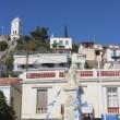 Clock tower of Poros island as seen from the promenade, Greece — Stock Photo