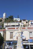 Clock tower of Poros island as seen from the promenade, Greece — Stok fotoğraf