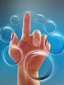 Hand working with touch screen interface — Stock Photo