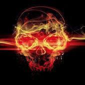 Crâne de flammes sur fond noir — Photo