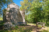 St Krsevan church on nature with bench at Krk - Croatia horizont — Stock Photo