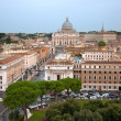 St Peter basilica and Vatican city on a rainy day from above - I — Stock Photo