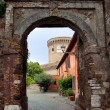 Постер, плакат: Entrance to Borgo di Ostia antica and Castello di Giulio II at R