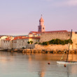 Panoramic view of Krk port and city walls from the sea with morn — Stock Photo