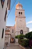 Krk Cathedral belfry view fron secondary passage - Croatia — Stock Photo