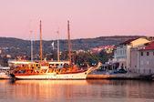 Sailing ship docked on Krk port morning light - Croatia — Stock Photo