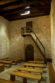 St Lucia church at jurandvor inside with benches vertical - Bask — Stock Photo