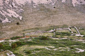 Road to Stara Baska - Stone writings on the mountains close up - — Foto de Stock