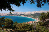 Baska bay sea and city from panoramic viewpoint threes frame - K — Stock Photo