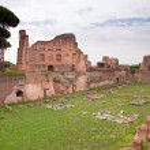 Palatine stadium ruins side view in palatine hill at Rome — Stock Photo #21667359