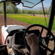 Tractor working fields view from inside tractor — Stock Photo
