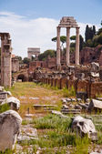 Ruins at Roman forum vertical view at Rome — Stock Photo