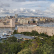 Panoramic view of Marseille ald city port vieux and fort saint j — Stock Photo #33379355