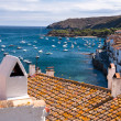 Smokestack and rooftops at Cadaques bay — Stockfoto