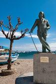 Salvador dali-statue in cadaques strand — Stockfoto