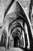 Cloister corridor and arcs at Saint Just Cathedral at Narbonne i — Stock Photo