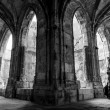 Cloister corridors and arcs at Saint Just Cathedral with tourist — Stock Photo