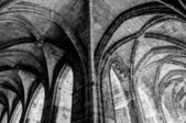 Cloister corridor arcs look like a mirror at Saint Just Cathedra — Stock Photo