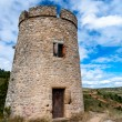 Tower on fields near Rennes le chateau vertical — Stock Photo