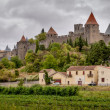 Carcassonne old fortified city panoramic view with stormy sky — Photo