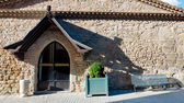 Stone fachade of medieval building at Carcassonne — Stock Photo
