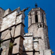 Stock Photo: BarcelonCathedral SantEulaliback  walls and tower