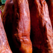Stock Photo: Jamon hanging in LBoquerimarket at Barcelona