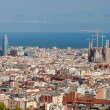 Stock Photo: Panoramic view of Barcelonwith LSagradFamiliand Agbar bu