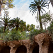 Stock Photo: Viaducto and Palms in Park Guell at Barcelona
