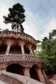 Viaducto and tree in Park Guell at Barcelona — Stock Photo