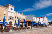 Panoramic view of clock tower and  Frane Petrica square in Cres — Stock Photo