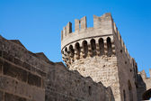 Old castle tower in Rhodes, Greece — Stock Photo