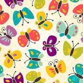 Modèle sans couture papillon — Vecteur