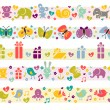 Stock Vector: Cute borders with baby icons.