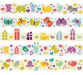 Cute borders with baby icons. — Stock Vector