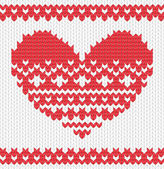Knitted vector heart — Stock vektor