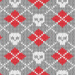 Stock Vector: Knitted pattern with skulls