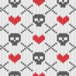 Knitted pattern with skulls — Vector de stock