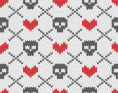Knitted pattern with skulls — Vecteur
