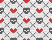 Modello a maglia con teschi — Vettoriale Stock