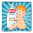 Baby with a bottle — Stock Vector
