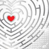 Maze whits heart — Stock Vector