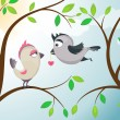 Stock Vector: Love birds.