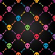 Stock Vector: Multicolor seamless pattern with skulls.