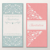 Set of beautiful wedding invitations. — Stock Vector