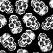 Stock Vector: Seamless monochrome pattern with skulls