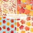 Set of seamless autumn patterns. — Stock Vector